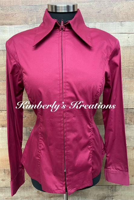Burgundy Solid Fitted Show Shirt MADE IN THE USA - Ladies Size Medium through Large