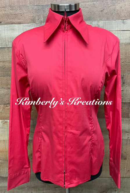 Dark Coral Solid Fitted Show Shirt MADE IN THE USA - Ladies Size Large