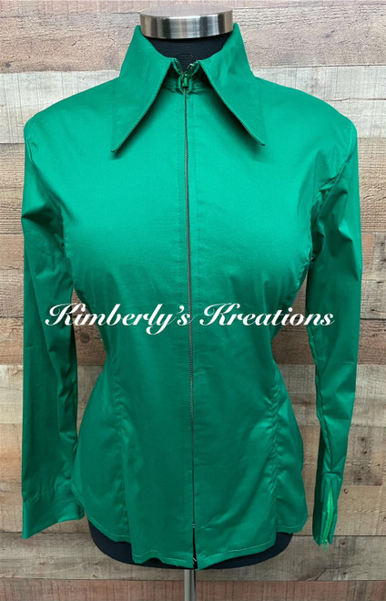 Emerald Green Solid Fitted Show Shirt MADE IN THE USA  - Ladies Size Medium through Extra Large