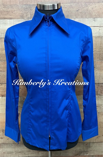 Royal Blue Solid Fitted Show Shirt MADE IN THE USA - Ladies Size Small and Extra Large