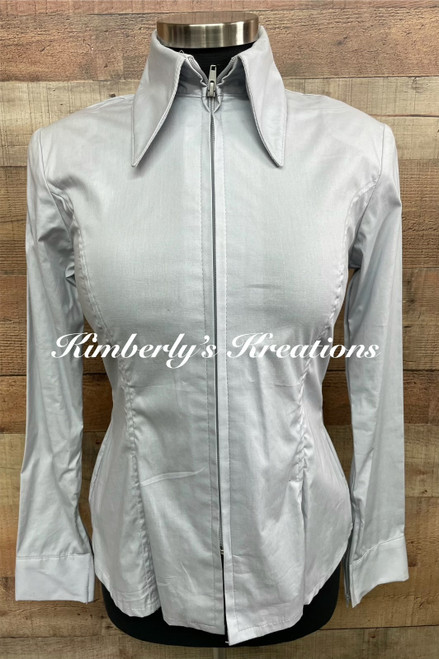 Light Gray Solid Fitted Show Shirt MADE IN THE USA - Ladies Sizes Small through 1X