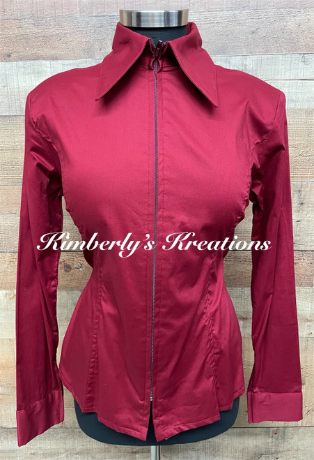 Brick Red Solid Fitted Show Shirt MADE IN THE USA - Ladies Sizes Large and Extra Large