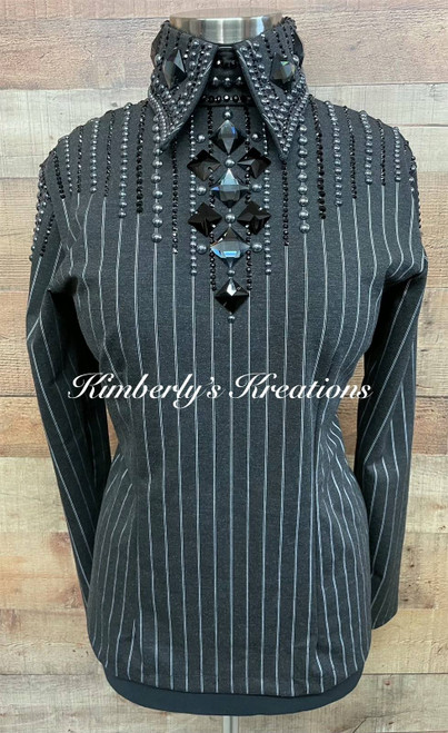 Charcoal , Black and White Horsemanship/All Day Show Shirt - Ladies Size Large/Extra Large