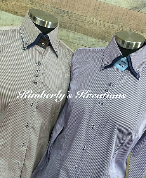 Set of Kathy Tales Button Down Show Shirts - Light Purple Pinstripe and Light Burgundy Pinstripe - Ladies Size Medium