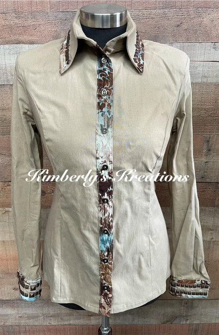 Tan, White, Brown and Teal Show Shirt - Ladies Size Small/Medium