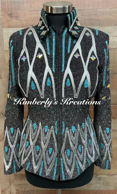 Black, Turquoise and Silver Show Jacket - Ladies Size Medium