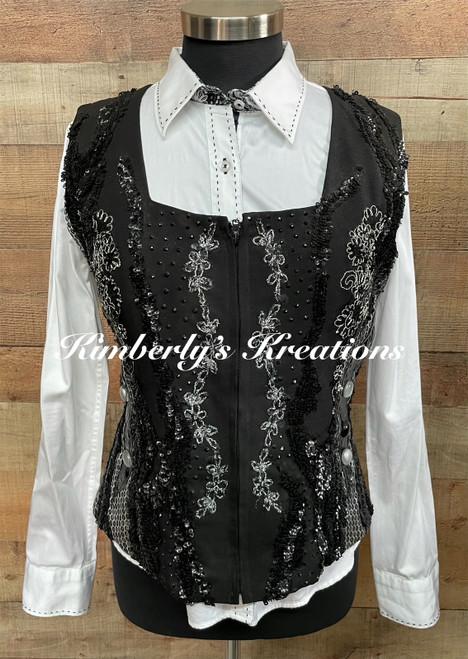Black, Silver and White Vest Set - Ladies Size Medium