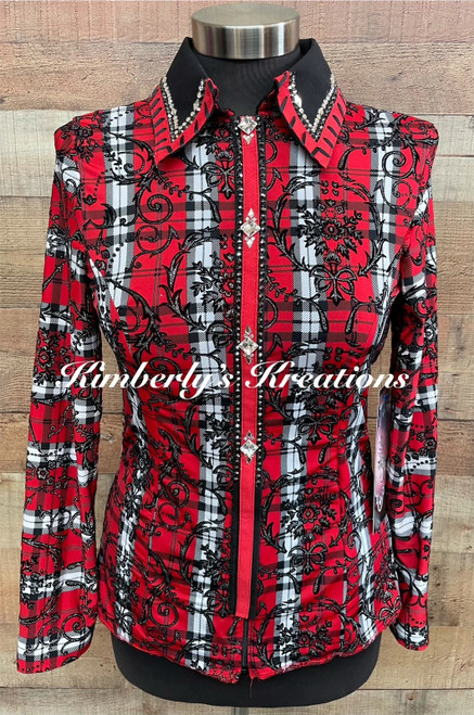 Red, Black and White All Day Show Shirt - Youth Size XL or Ladies Size 2/4 Petite