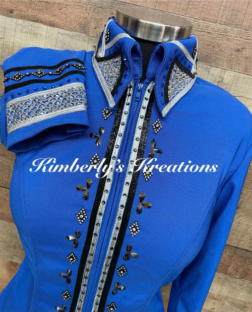 Bright Royal, Black and Silver All Day Show Shirt - Ladies Size Medium/Large