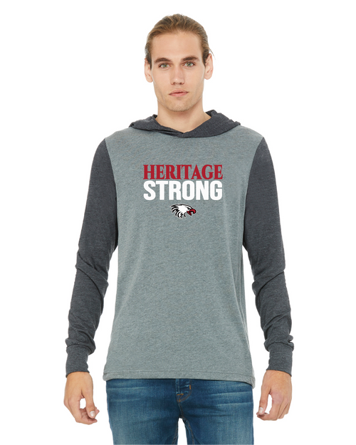 Bella+Canvas Unisex Jersey Long-Sleeve Hoodie in Deep Heather/Dark Grey Heather with Heritage Strong Logo