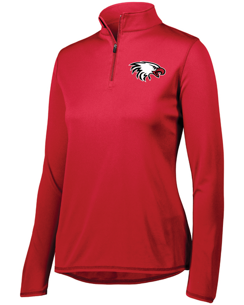 Augusta Ladies' Attain Quarter-Zip Pullover in Red with Eagle Embroidered Logo