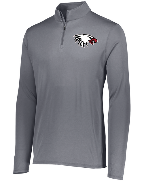 Augusta Sportswear Adult Attain Quarter-Zip Pullover in Graphite with Eagle Embroidered Logo