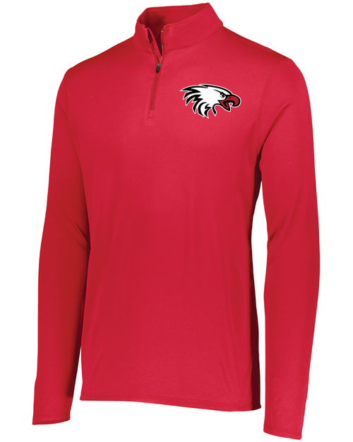 Augusta Youth Attain Quarter-Zip Pullover in Red with Eagle Embroidered Logo
