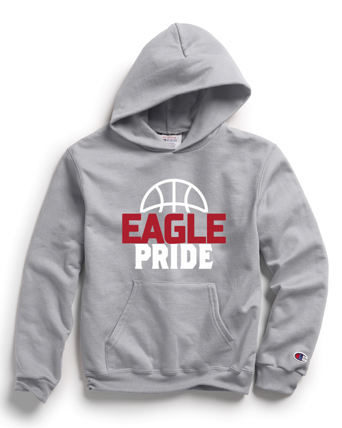 Champion Adult Double Dry Eco® Pullover Hood in Light Steel with Eagle Pride Basketball Logo