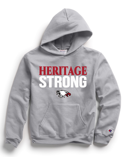 Champion Adult Double Dry Eco® Pullover Hood in Light Steel with Heritage Strong Logo