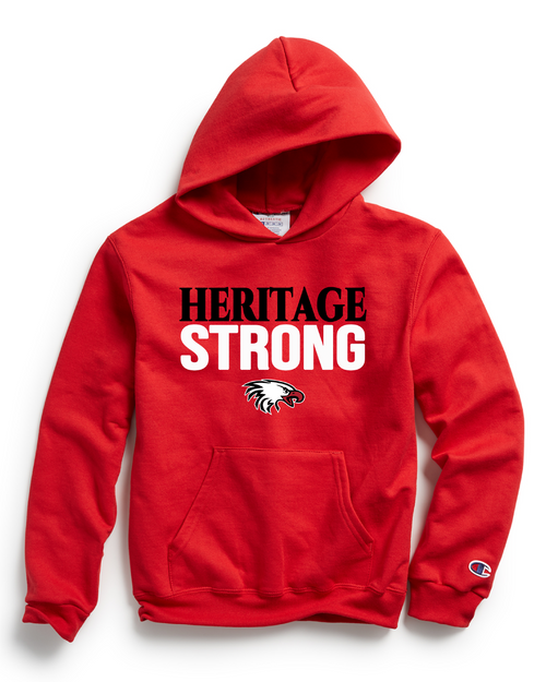 Champion Adult Double Dry Eco® Pullover Hood in Scarlet with Heritage Strong Logo