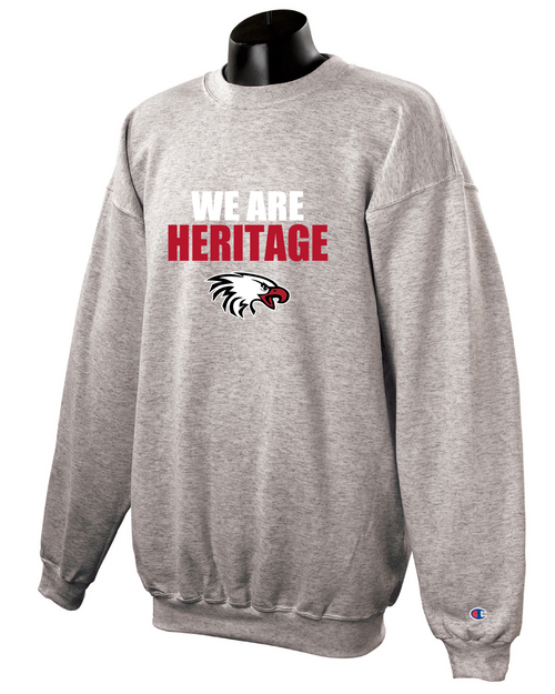 Champion Adult Double Dry Eco® Crew in Light Steel with We Are Heritage Logo