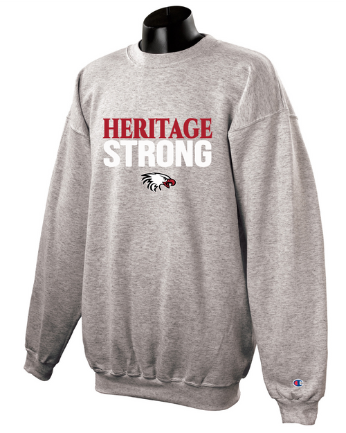Champion Adult Double Dry Eco® Crew in Light Steel with Heritage Strong Logo