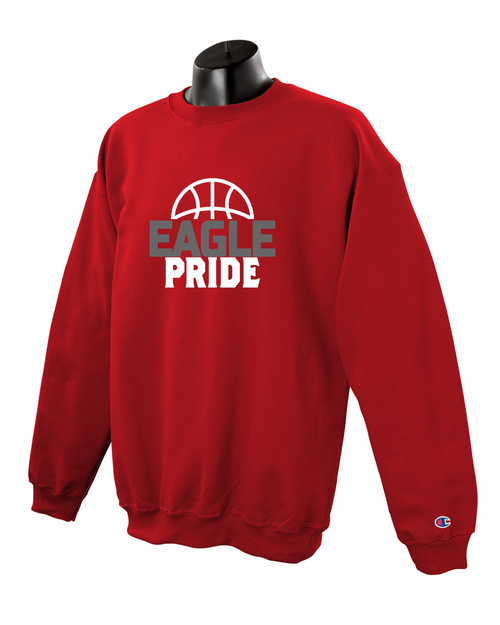 Champion Adult Double Dry Eco® Crew in Scarlet with Eagle Pride Basketball Logo