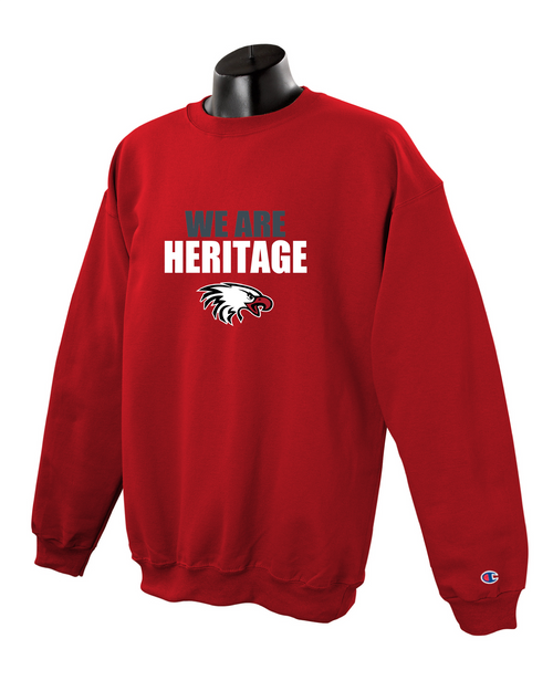 Champion Adult Double Dry Eco® Crew in Scarlet with We Are Heritage Logo
