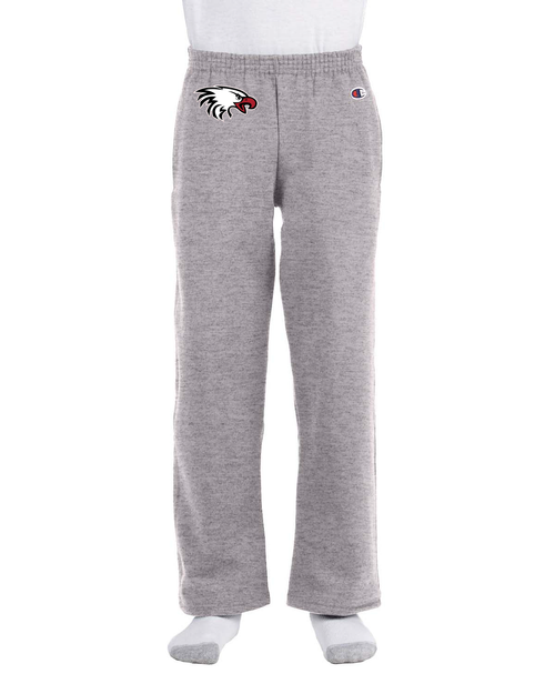 Champion Youth Double Dry Eco® Open-Bottom Fleece Pant in Light Steel with Eagle Logo