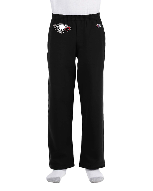 Champion Youth Double Dry Eco® Open-Bottom Fleece Pant in Black with Eagle Logo