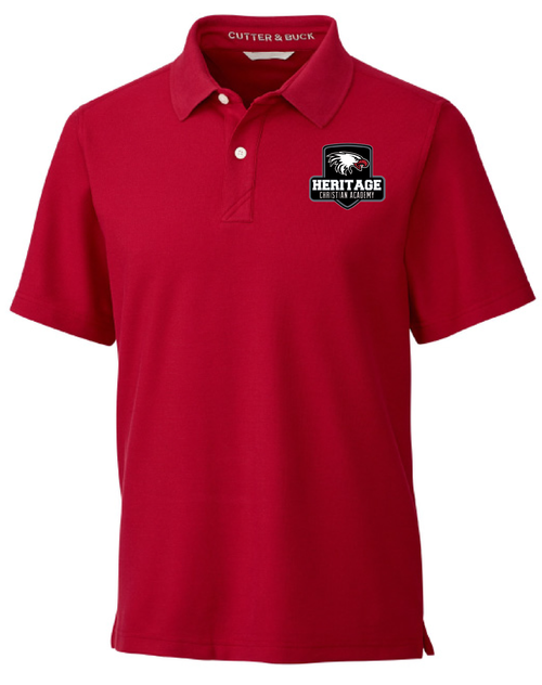 Cutter & Buck Men's Breakthrough Polo in Cardinal Red with Heritage Shield Logo