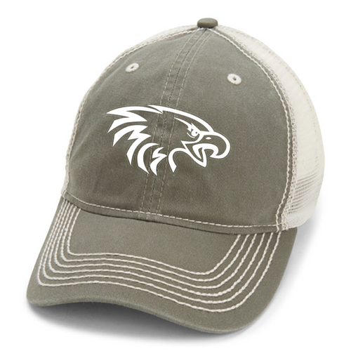 Heavy Washed Trucker Cap in Elmwood/Ivory with White Eagle Head Embroidered Logo