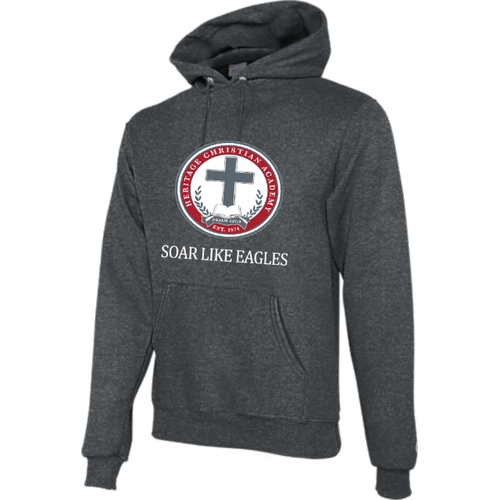 Champion Adult Double Dry Eco® Pullover Hood in Charcoal Heather with Soar Like Eagles Logo
