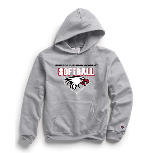 Champion Adult Double Dry Eco® Pullover Hood in Light Steel with HCA Softball Logo