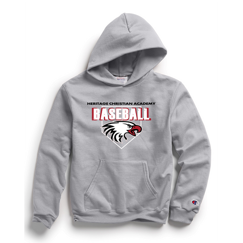 Champion Youth Double Dry Eco® Pullover Hood in Light Steel with HCA Baseball Logo