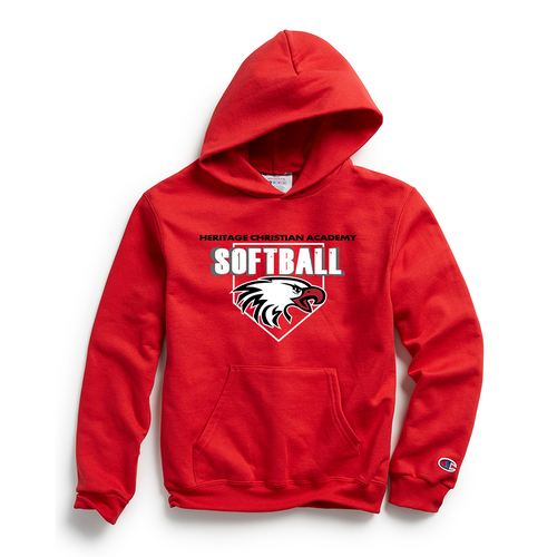 Champion Youth Double Dry Eco® Pullover Hood in Scarlet with HCA Softball Logo
