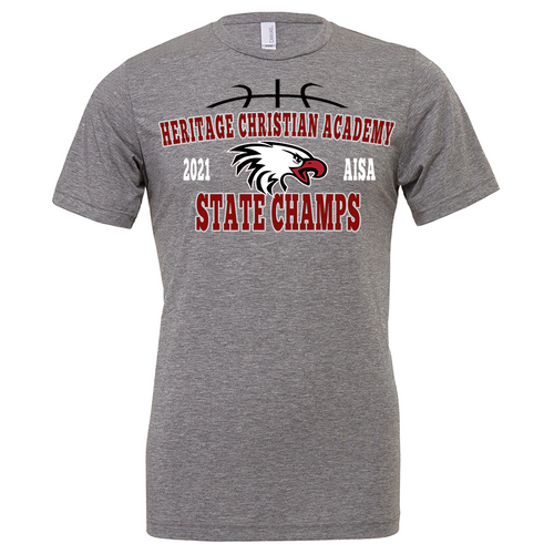 Eagles 2021 State Basketball Champions Adult Gray T-Shirt