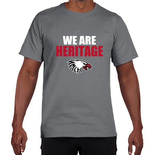 Gildan Adult Performance® Adult Core T-Shirt in Gravel with We Are Heritage Logo