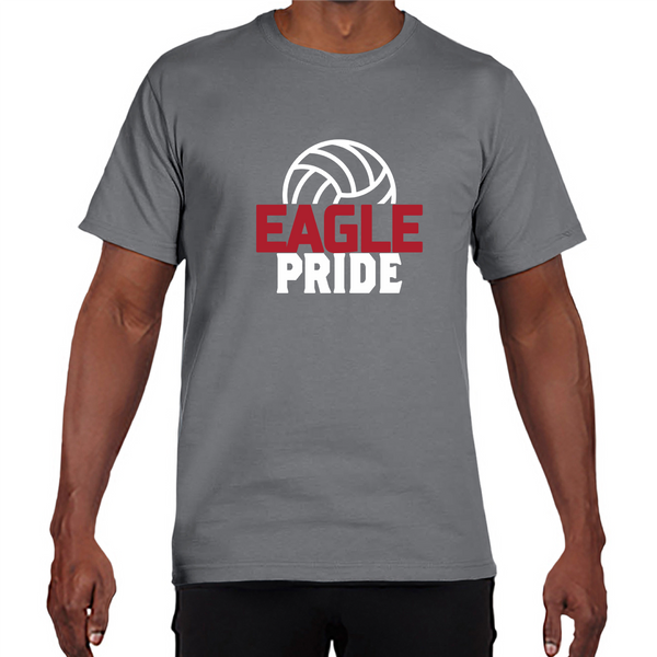 Gildan Adult Performance® Adult Core T-Shirt in Gravel with Eagle Pride Volleyball Logo