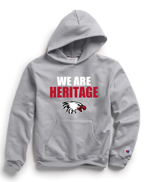 Champion Adult Double Dry Eco® Pullover Hood in Light Steel with We Are Heritage Logo