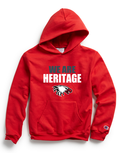 Champion Youth Double Dry Eco® Pullover Hood in Scarlet with We Are Heritage Logo