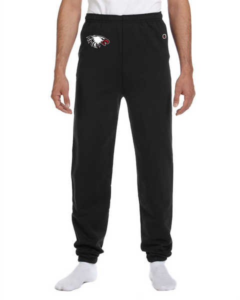 Champion Adult Double Dry Eco® Fleece Pant in Black with Eagle Logo