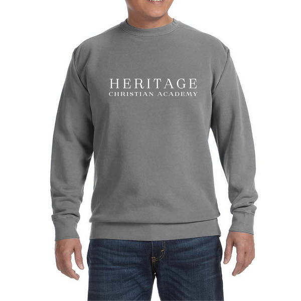 Comfort Colors Adult Crewneck Sweatshirt in Grey with Heritage Logo and  Bible Verse on Back Logo