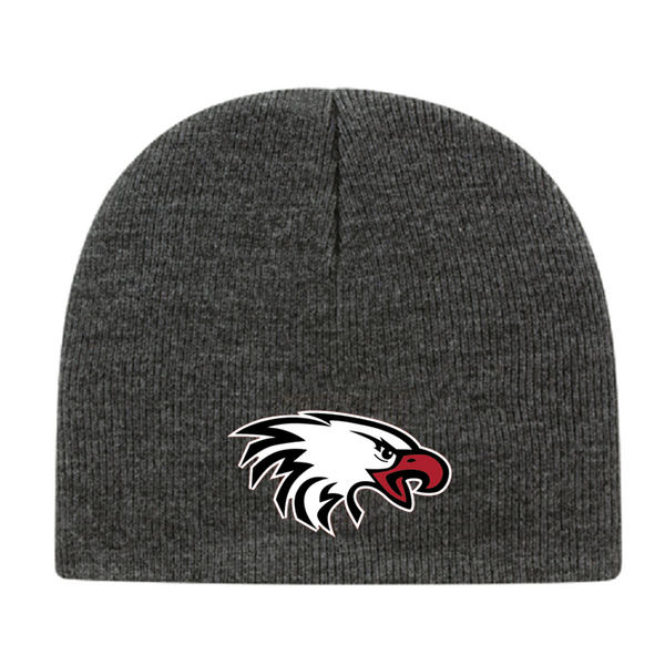 USA Made Knit Beanie in Dark Heather with White Eagle Head Embroidered Logo