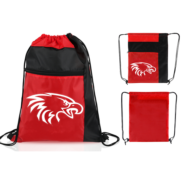 Drawstring Sports Bag with Zippered Front Pocket in Red with White Eagle Head Logo