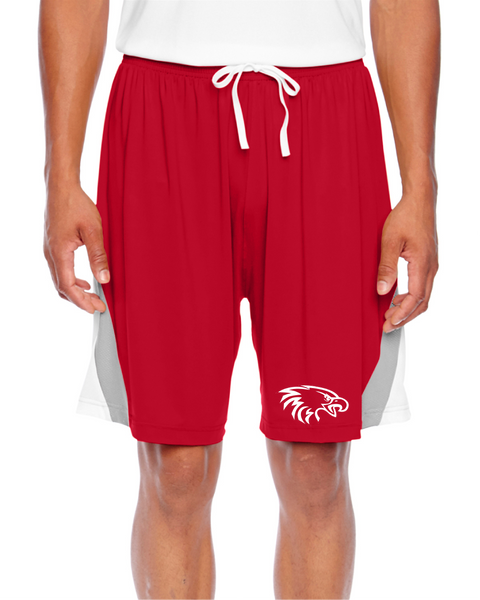 Team 365 Men's Tournament Short in Sport Red/Sport Silver with White Eagle Head Logo