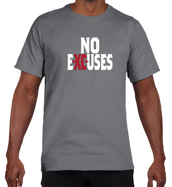 Gildan Adult Performance® Adult Core T-Shirt in Gravel with Cross Country No Excuses Logo