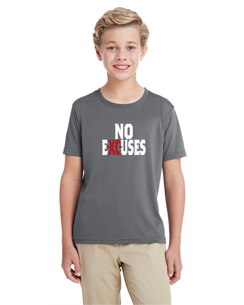 Gildan Youth Performance® Youth Core T-Shirt in Gravel with Cross Country No Excuses Logo