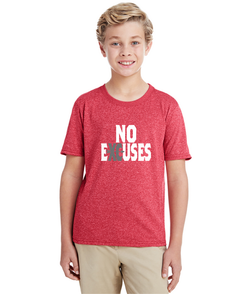 Gildan Youth Performance® Youth Core T-Shirt in Red with Cross Country No Excuses Logo