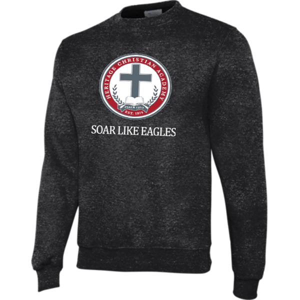 Champion Adult Double Dry Eco® Crew in Charcoal Heather with Soar Like Eagles Logo