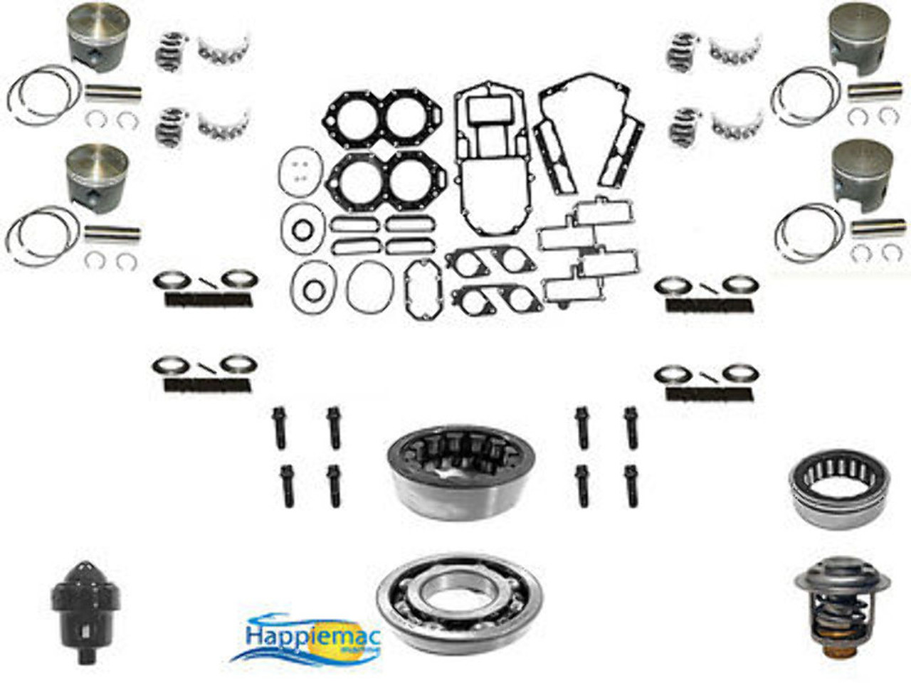 Johnson Evinrude 120 130 140 HP V4 Powerhead Rebuild Kit Gasket Piston  Bearings