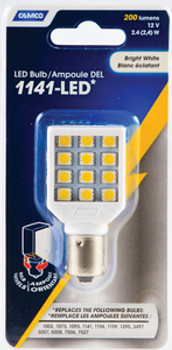 Camco 1141 Bright White 2.4 Watts Light LED Bulb with White Swivel Housing