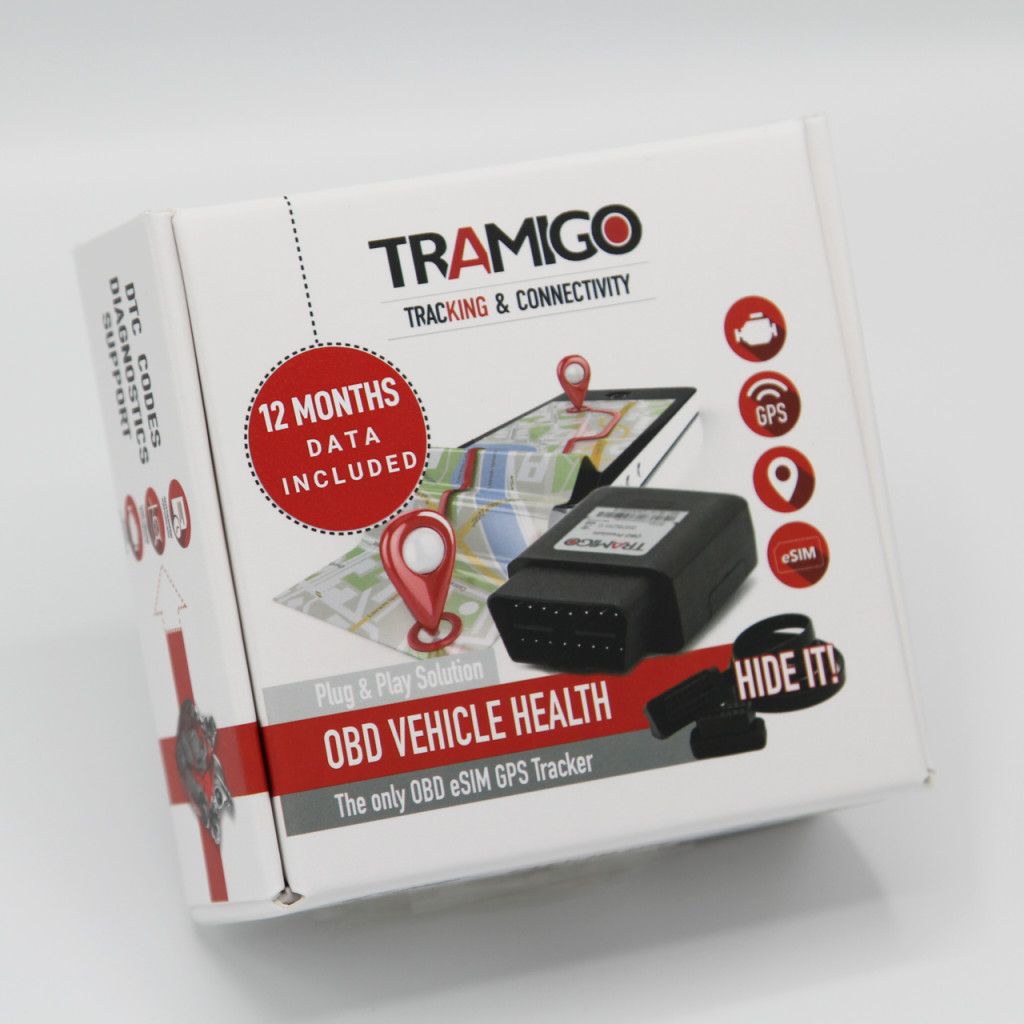 Tramigo OBD premium sales package -  all inclusive device with builtin in eSIM and 12 months subscription for connectivity complete with software