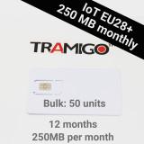 Tramigo IoT SIM EU28+ 250Mb per month 12month subscription